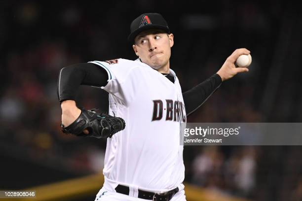 Patrick Corbin of the Arizona Diamondbacks delivers a pitch in the first inning of the MLB game against the Atlanta Braves at Chase Field on...
