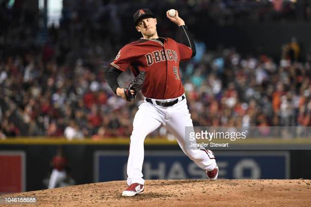 Patrick Corbin of the Arizona Diamondbacks delivers a pitch in the third inning of the MLB game against the San Diego Padres at Chase Field on Sunday...