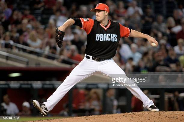 Patrick Corbin of the Arizona Diamondbacks delivers a pitch in the third inning against the San Francisco Giants at Chase Field on August 27 2017 in...