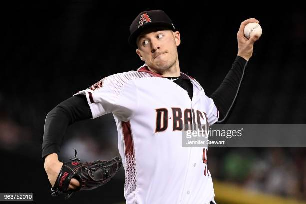 Patrick Corbin of the Arizona Diamondbacks delivers a pitch in the first inning of the MLB game against the Cincinnati Reds at Chase Field on May 30...