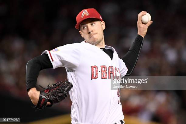 Patrick Corbin of the Arizona Diamondbacks delivers a pitch in the first inning of the MLB game against the St Louis Cardinals at Chase Field on July...