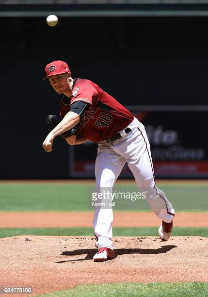 Patrick Corbin of the Arizona Diamondbacks delivers a warm up pitch against the New York Mets at Chase Field on May 17 2017 in Phoenix Arizona