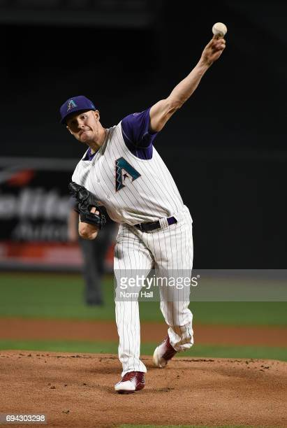 Patrick Corbin of the Arizona Diamondbacks delivers a warm up pitch against the San Diego Padres at Chase Field on June 8 2017 in Phoenix Arizona