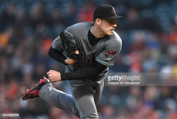 Patrick Corbin of the Arizona Diamondbacks pitches against the San Francisco Giants in the bottom of the first inning at ATT Park on April 10 2018 in...