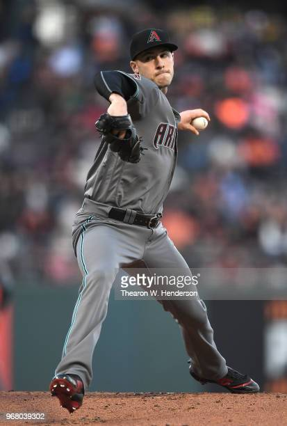 Patrick Corbin of the Arizona Diamondbacks pitches against the San Francisco Giants in the bottom of the first inning at ATT Park on June 5 2018 in...