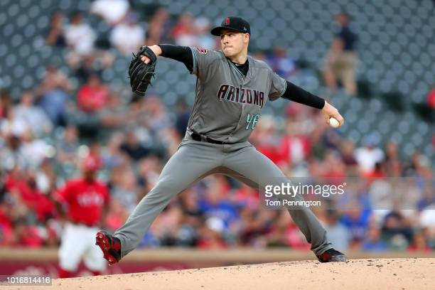 Patrick Corbin of the Arizona Diamondbacks pitches against the Texas Rangers in the bottom of the second inning at Globe Life Park in Arlington on...