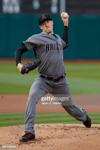 Patrick Corbin of the Arizona Diamondbacks pitches against the Oakland Athletics during the first inning at the Oakland Coliseum on May 25 2018 in...