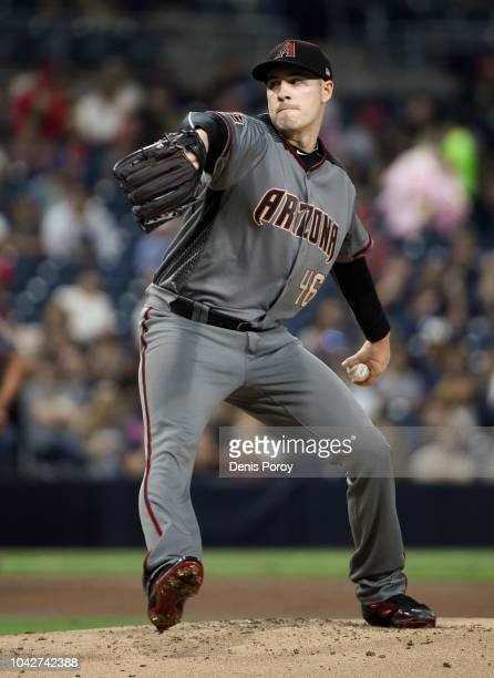 Patrick Corbin of the Arizona Diamondbacks pitches during the first inning of a baseball game against the San Diego Padres at PETCO Park on September...