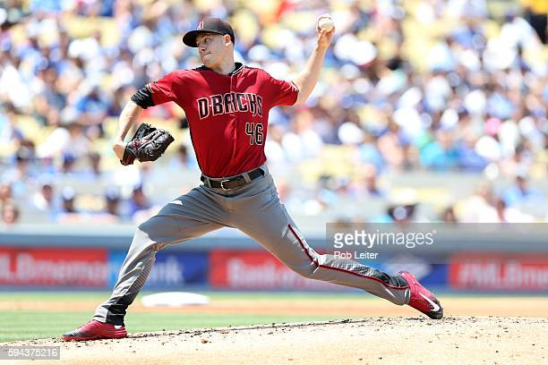 Patrick Corbin of the Arizona Diamondbacks pitches during the game against the Los Angeles Dodgers at Dodger Stadium on July 31 2016 in Los Angeles...