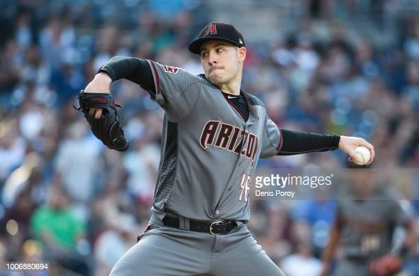 Patrick Corbin of the Arizona Diamondbacks pitches during the second inning of a baseball game against the San Diego Padres PETCO Park on July 28...