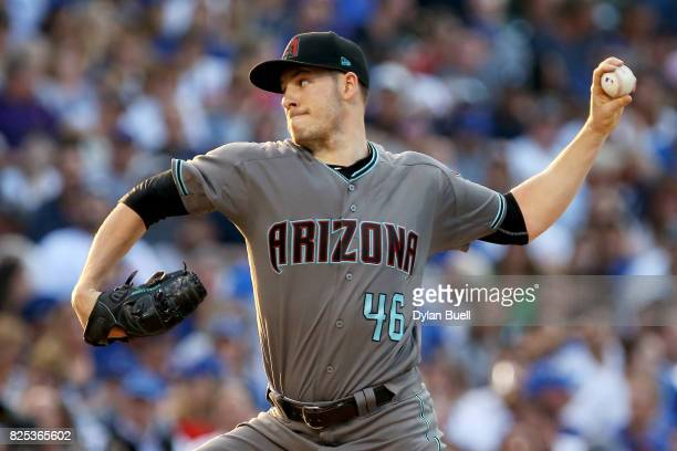 Patrick Corbin of the Arizona Diamondbacks pitches in the first inning against the Chicago Cubs at Wrigley Field on August 1 2017 in Chicago Illinois