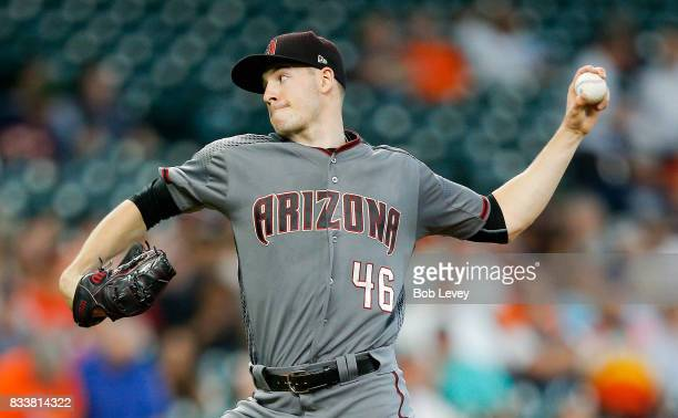 Patrick Corbin of the Arizona Diamondbacks pitches in the first inning against the Houston Astros at Minute Maid Park on August 17 2017 in Houston...