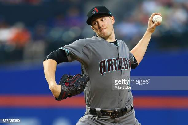 Patrick Corbin of the Arizona Diamondbacks pitches in the first inning against the New York Mets at Citi Field on August 22 2017 in the Flushing...