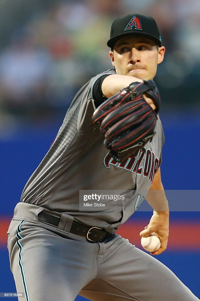 Patrick Corbin #46 of the Arizona Diamondbacks pitches in the first inning against the New York Mets at Citi Field on August 22, 2017 in the Flushing neighborhood of the Queens borough of New York City.