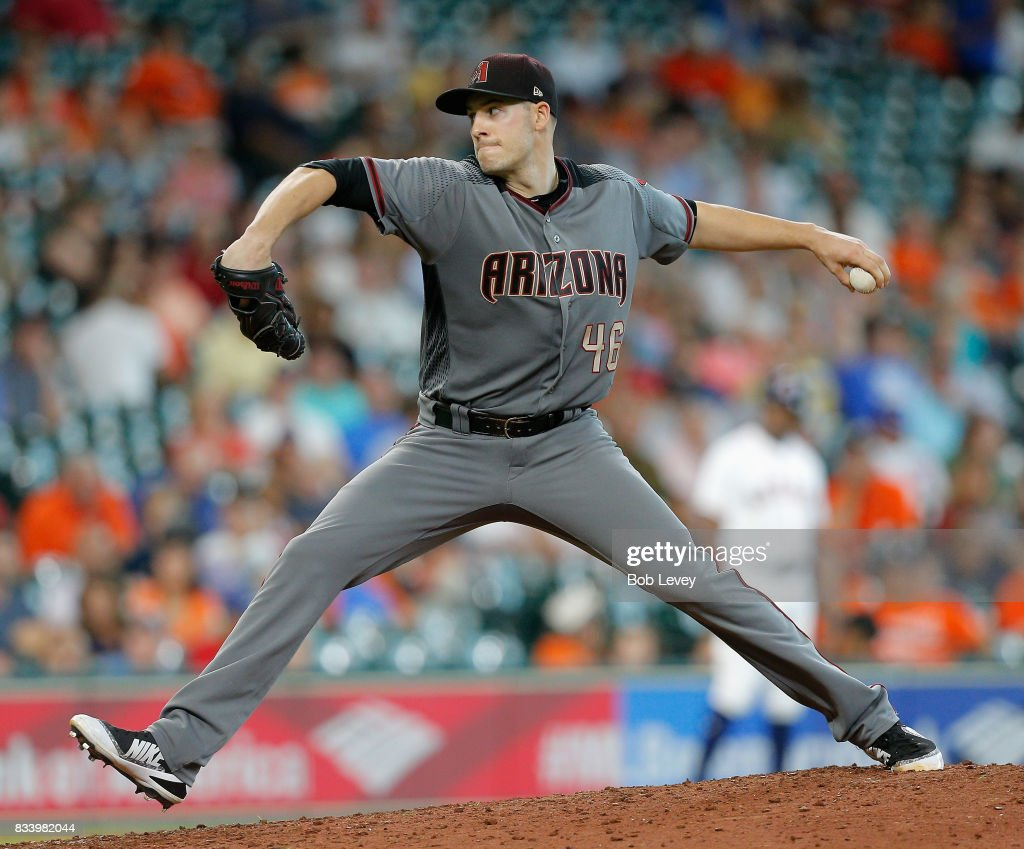 Patrick Corbin #46 of the Arizona Diamondbacks pitches in the ninth inning against the Houston Astros at Minute Maid Park on August 17, 2017 in Houston, Texas.