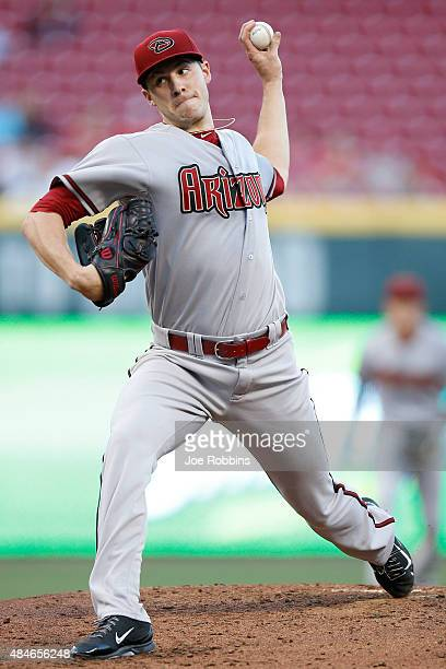 Patrick Corbin of the Arizona Diamondbacks pitches in the second inning against the Cincinnati Reds at Great American Ball Park on August 20 2015 in...