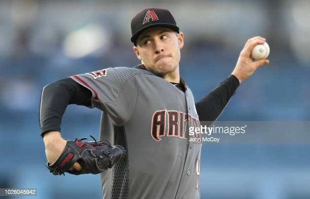 Patrick Corbin of the Arizona Diamondbacks pitches to the Los Angeles Dodgers in the first inning at Dodger Stadium on September 1 2018 in Los...