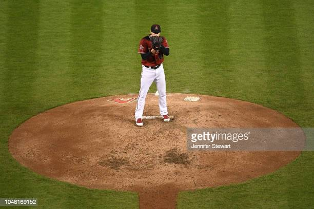 Patrick Corbin of the Arizona Diamondbacks prepares to deliver a pitch during the fourth inning of the MLB game against the San Diego Padres at Chase...