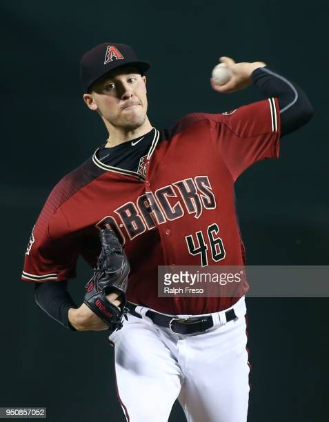 Patrick Corbin of the Arizona Diamondbacks throws a pitch against the San Diego Padres during the first inning of an MLB game at Chase Field on April...