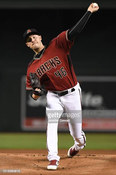 Patrick Corbin of the Arizona Diamondbacks throws a warm up pitch in the first inning of the MLB game against the Philadelphia Phillies at Chase...