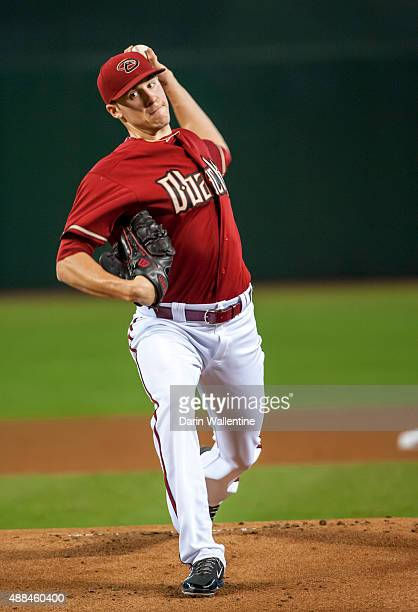 Patrick Corbin of the Arizona Diamondbacks warms up before a MLB game against the Los Angeles Dodgers on September 13 2015 at Chase Field in Phoenix...