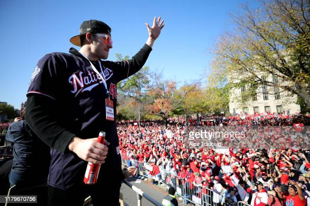 Patrick Corbin of the Washington Nationals acknowledges the crowd during the 2019 World Series victory parade on Saturday November 2 2019 in...