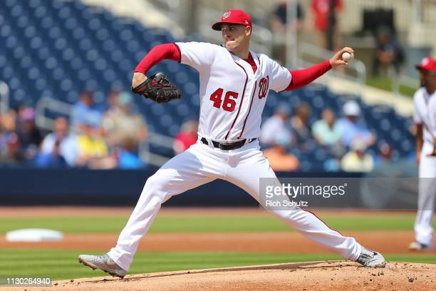 Patrick Corbin of the Washington Nationals delivers a pitch against the Atlanta Braves during the first inning of a spring training baseball game at...