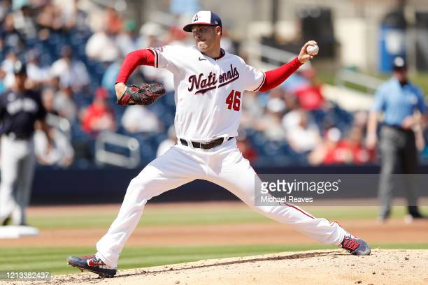 Patrick Corbin of the Washington Nationals delivers a pitch against the New York Yankees during a Grapefruit League spring training game at FITTEAM...