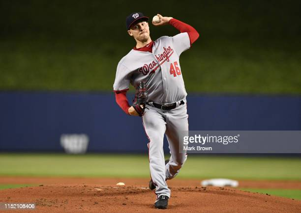 Patrick Corbin of the Washington Nationals delivers a pitch in the first inning against the Miami Marlins at Marlins Park on June 26 2019 in Miami...