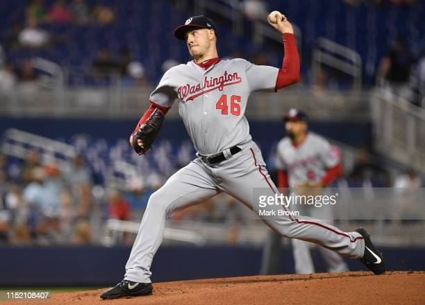 Patrick Corbin of the Washington Nationals delivers a pitch in the second inning against the Miami Marlins at Marlins Park on June 26 2019 in Miami...