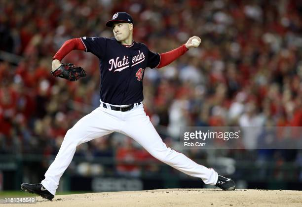 Patrick Corbin of the Washington Nationals delivers a pitch in the first inning against the St Louis Cardinals during game four of the National...
