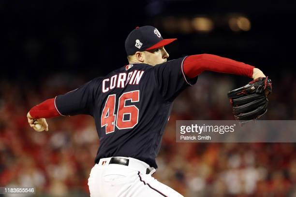 Patrick Corbin of the Washington Nationals delivers the pitch against the Houston Astros during the first inning in Game Four of the 2019 World...