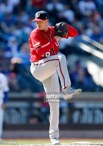 Patrick Corbin of the Washington Nationals in action against the New York Mets at Citi Field on April 06 2019 in the Flushing neighborhood of the...