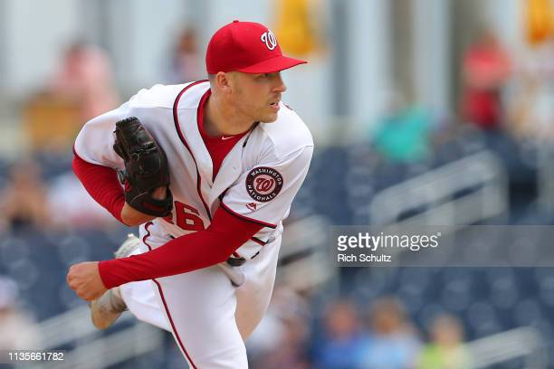 Patrick Corbin of the Washington Nationals in action during a spring training baseball game against the Atlanta Braves at Fitteam Ballpark of the...