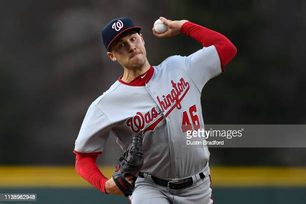 Patrick Corbin of the Washington Nationals pitches against the Colorado Rockies in the first inning of a game at Coors Field on April 23 2019 in...