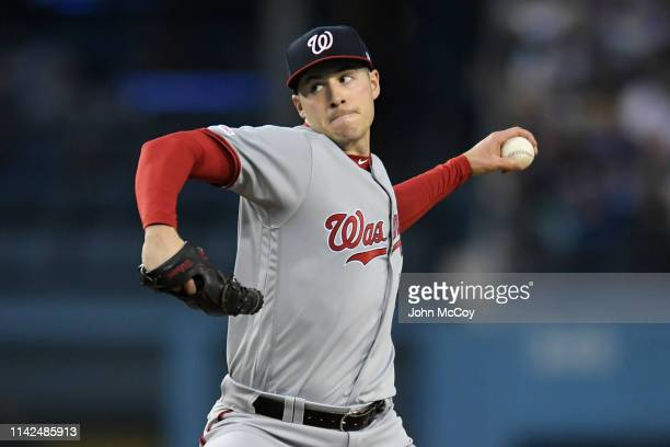 Patrick Corbin of the Washington Nationals pitches against the Los Angeles Dodgers in the first inning at Dodger Stadium on May 9 2019 in Los Angeles...
