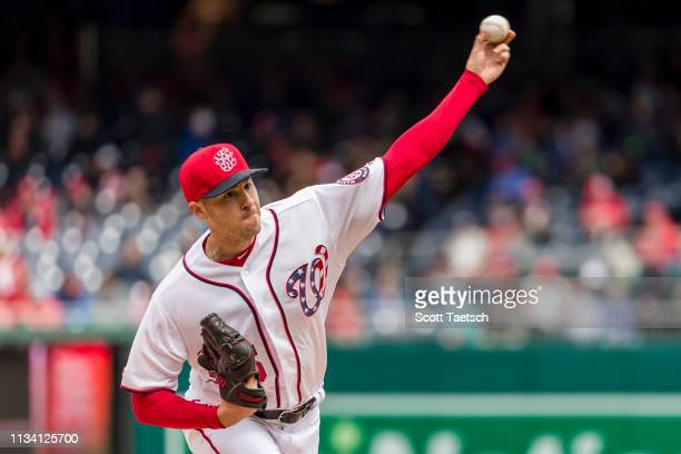 Patrick Corbin of the Washington Nationals pitches against the New York Mets during the first inning at Nationals Park on March 31 2019 in Washington...