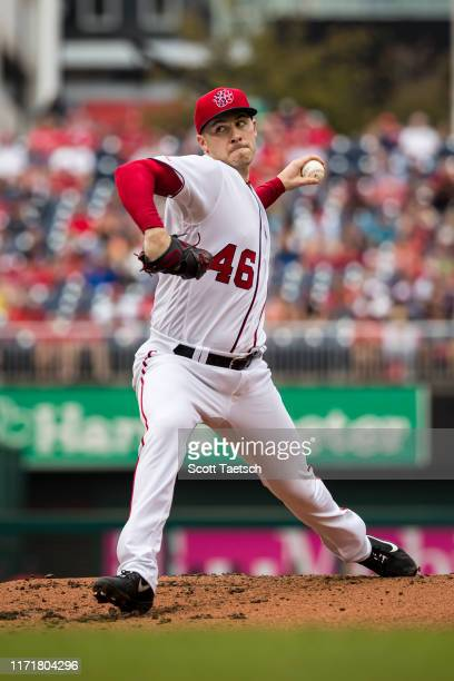 Patrick Corbin of the Washington Nationals pitches against the Cleveland Indians during the second inning at Nationals Park on September 28 2019 in...