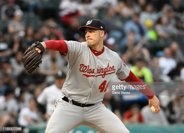 Patrick Corbin of the Washington Nationals pitches against the Chicago White Sox during the first inning at Guaranteed Rate Field on June 11 2019 in...
