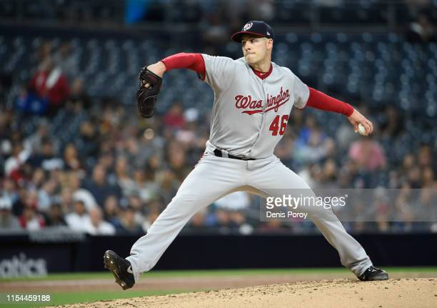 Patrick Corbin of the Washington Nationals pitches during the first inning of a baseball game against the San Diego Padres at Petco Park June 6 2019...