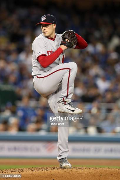 Patrick Corbin of the Washington Nationals pitches during the game against the Los Angeles Dodgers at Dodger Stadium on May 9 2019 in Los Angeles...