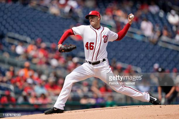 Patrick Corbin of the Washington Nationals pitches in the first inning against the San Francisco Giants at Nationals Park on April 18 2019 in...