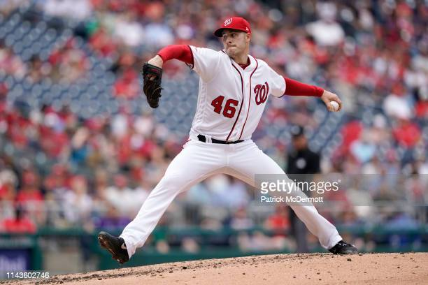 Patrick Corbin of the Washington Nationals pitches in the fourth inning against the San Francisco Giants at Nationals Park on April 18 2019 in...