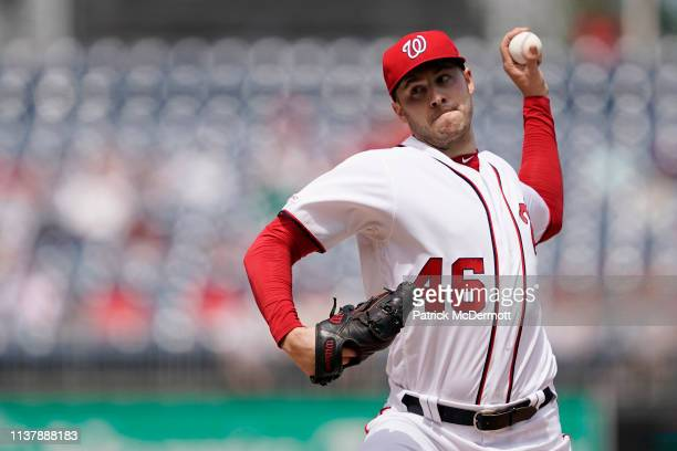 Patrick Corbin of the Washington Nationals pitches in the second inning against the San Francisco Giants at Nationals Park on April 18 2019 in...