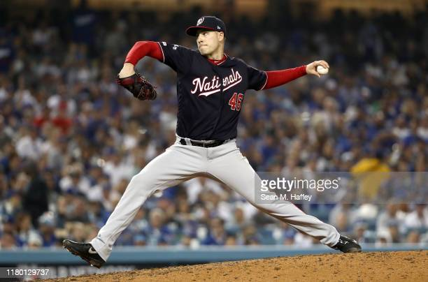 Patrick Corbin of the Washington Nationals pitches in the seventh inning of game five of the National League Division Series against the Los Angeles...