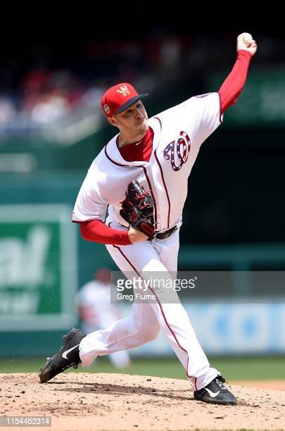 Patrick Corbin of the Washington Nationals pitches in the third inning against the Kansas City Royals at Nationals Park on July 7 2019 in Washington...