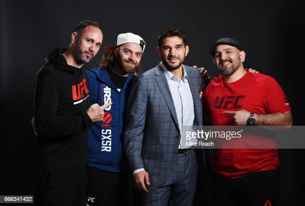 Patrick Cote of Canada poses for a portrait backstage with his team after his Welterweight defeat to Thiago Alves of Brazil and his retirement...
