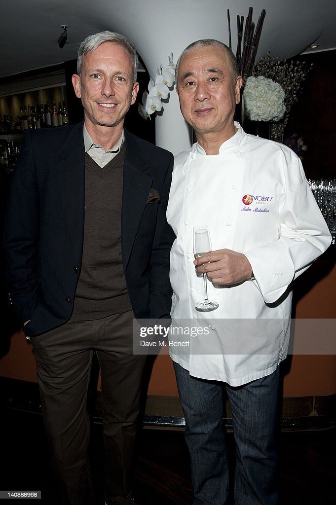 & Patrick Cox and Nobuyuki Matsuhisa attend a party to celebrate Nobu London restaurant's 15th anniversary at the Met Bar on March 07, 2012 in London, England.