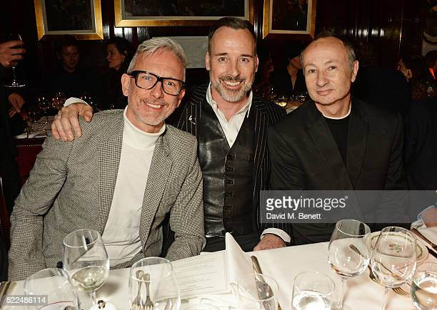 Patrick Cox David Furnish and director Fenton Bailey attend a dinner at Annabel's to celebrate the premiere of 'Mapplethorpe Look At The Pictures' on...