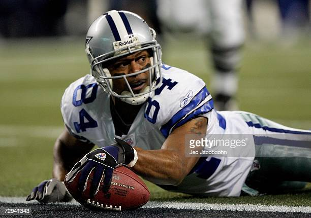 Patrick Crayton of the Dallas Cowboys looks up after diving in for a touchdown in the second quarter of the NFC Wild Card Playoff Game against the...
